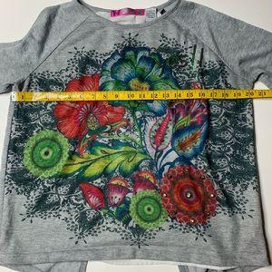 Desigual Tops - Desigual Yes long sleeve floral grey shirt large